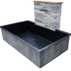 Muret d'eau en shiste gris beige avec bassin